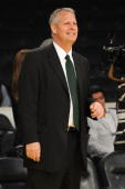 General Manager Danny Ainge of the Boston Celtics looks on before taking on the Los Angeles Lakers in Game Seven of the 2010 NBA Finals on June 17...