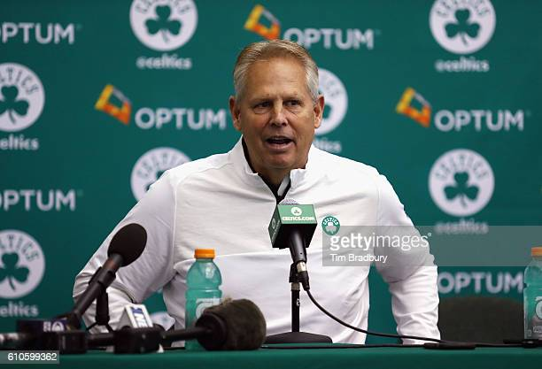 General manager Danny Ainge of the Boston Celtics speaks with the media during Boston Celtics Media Day on September 26 2016 in Waltham Massachusetts