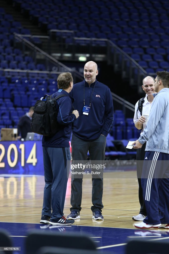 General Manager Danny Ferry speaks to Head Coach Mike Budenholzer of the Atlanta Hawks during practice as part of the 2014 Global Games on January 15, 2014 at The O2 Arena in London, England.