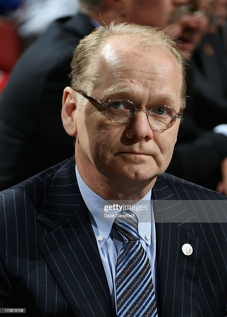 General manager Darcy Regier of the Buffalo Sabres attends the 2013 NHL Draft at Prudential Center on June 30, 2013 in Newark, New Jersey.