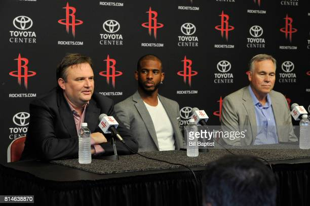 General Manager Daryl Morey of the Houston Rockets introduces Chris Paul during a press conference on July 14 2017 at the Toyota Center in Houston...