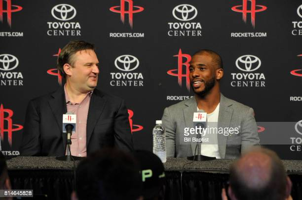 General Manager Daryl Morey of the Houston Rockets introduces Chris Paul as he speaks to the media during a press conference on July 14 2017 at the...