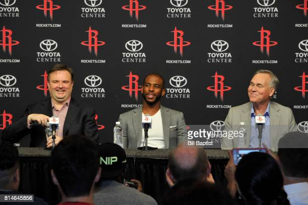 General Manager Daryl Morey of the Houston Rockets introduces Chris Paul and Head Coach Mike D'Antoni as he speaks to the media during a press...