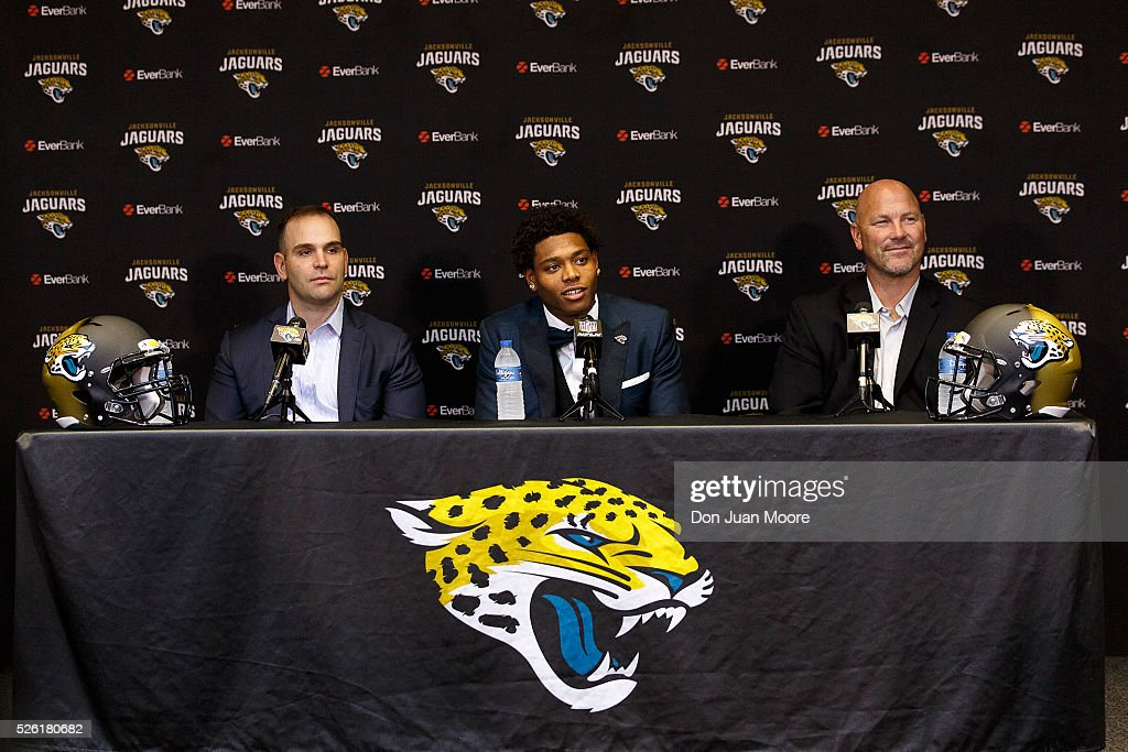 General Manager Dave Caldwell, Cornerback <a gi-track='captionPersonalityLinkClicked' href=/galleries/search?phrase=Jalen+Ramsey&family=editorial&specificpeople=11328626 ng-click='$event.stopPropagation()'>Jalen Ramsey</a> and Head Coach <a gi-track='captionPersonalityLinkClicked' href=/galleries/search?phrase=Gus+Bradley&family=editorial&specificpeople=5443487 ng-click='$event.stopPropagation()'>Gus Bradley</a> of the Jacksonville Jaguars during a press conference at EverBank Field on April 29, 2016 in Jacksonville, Florida. The Jaguars selected Ramsey fifth overall out of Florida State University in the 2016 NFL Draft.