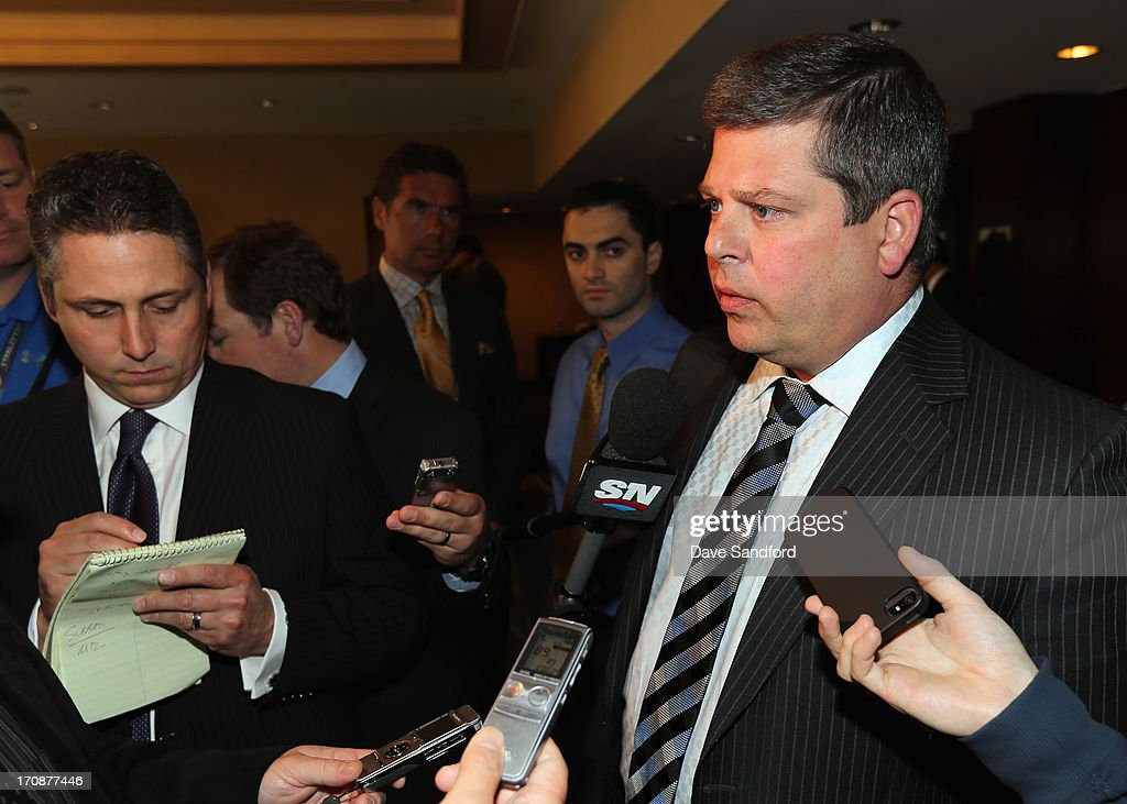 General manager Dave Nonis of the Toronto Maple Leafs speaks to the media after the general manager's meeting at the Hyatt Boston Harbor before Game Four of the 2013 Stanley Cup Final between the Chicago Blackhawks and the Boston Bruins on June 19, 2013 in Boston, Massachusetts.