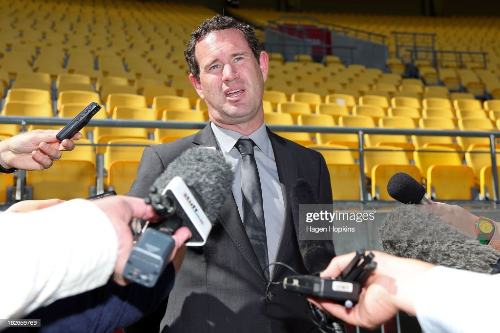 General Manager David Dome speaks to media during a Wellington Phoenix A-League media session/training session at Westpac Stadium on February 26, 2013 in Wellington, New Zealand.