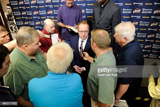 General Manager David Griffin addresses the media regarding the Kevin Love trade at The Cleveland Clinic Courts on August 26 2014 in Independence...