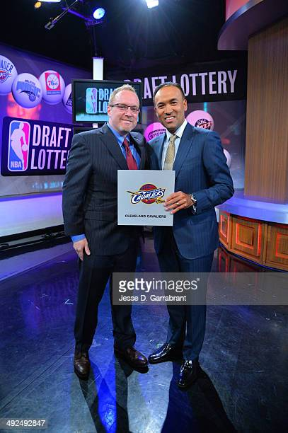 General Manager David Griffin of the Cleveland Cavaliers and NBA Deputy Commissioner Mark Tatum poses for a photo after winning the top pick during...