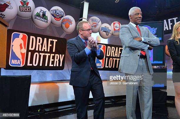 General Manager David Griffin of the Cleveland Cavaliers NBA Legend Julius Erving celebrates winning the top pick during the 2014 NBA Draft Lottery...