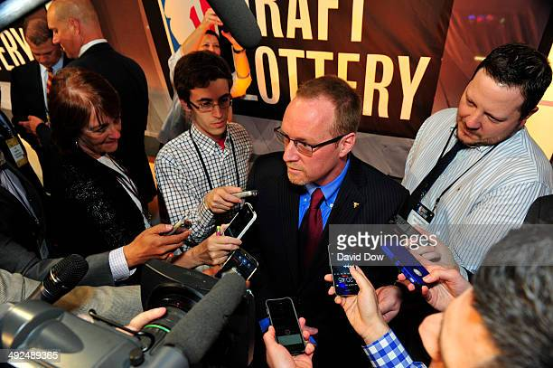 General Manager David Griffin of the Cleveland Cavaliers speaks to the media after the 2014 NBA Draft Lottery on May 20 2014 at the ABC News' 'Good...