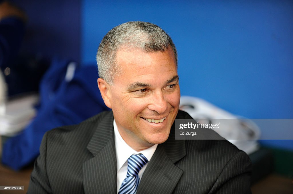 General manager <a gi-track='captionPersonalityLinkClicked' href=/galleries/search?phrase=Dayton+Moore&family=editorial&specificpeople=4308708 ng-click='$event.stopPropagation()'>Dayton Moore</a> of the Kansas City Royals looks on prior to an opening day game against the Chicago White Sox on April 6, 2015 at Kauffman Stadium in Kansas City, Missouri.