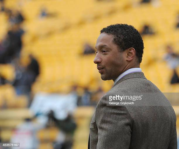 General manager Doug Whaley of the Buffalo Bills looks on from the field before a game against the Pittsburgh Steelers at Heinz Field on November 10...