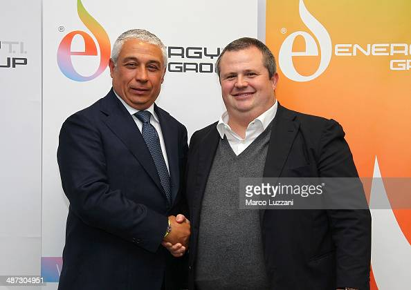 General Manager Energy TI Group Roberto Giuli and Parma FC President Tommaso Ghirardi pose for a photo during a press conference to announce their...