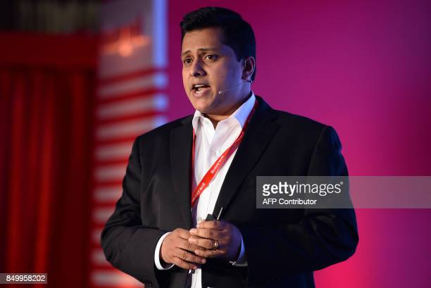 General Manager for Homes of Honeywell in India Sudhir Pillai speaks during the launch of a new range of airpurifiers in New Delhi on September 20...