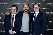 General Manager France Nicolas Besancon Singer Matt Pokara and CEO of Audemars Piguet Francois Henry Bennahmias attends the Audemars Piguet Rue...