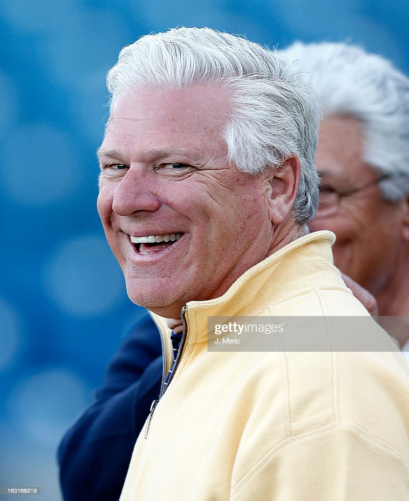 General Manager Frank Wren of the Atlanta Braves smiles during batting practice just before the start of the Grapefruit League Spring Training Game against the New York Yankees at George M. Steinbrenner Field on March 5, 2013 in Tampa, Florida.