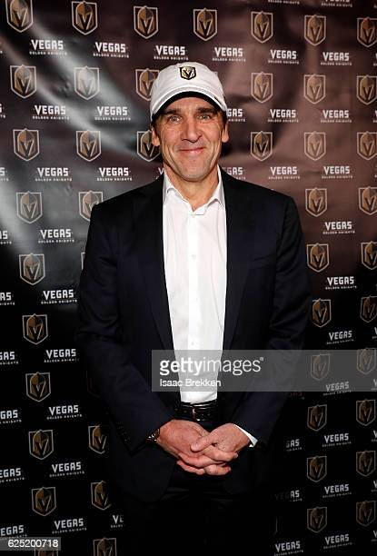 General manager George McPhee attends the unveiling of the new logo and name for the Vegas Golden Knights in Toshiba Plaza at TMobile Arena November...