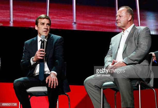 General manager George McPhee left and head coach Gerard Gallant of the Vegas Golden Knights speak onstage during the Vegas Golden Knights Round...