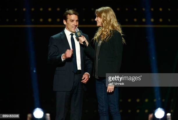 General manager George McPhee of the Vegas Golden Knights speaks onstage during the 2017 NHL Awards Expansion Draft at TMobile Arena on June 21 2017...