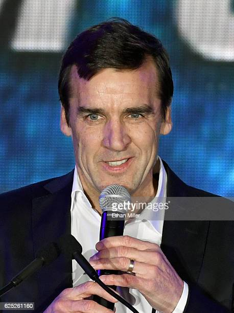 General manager George McPhee speaks before the Vegas Golden Knights was announced as the name for the Las Vegas NHL franchise at TMobile Arena on...