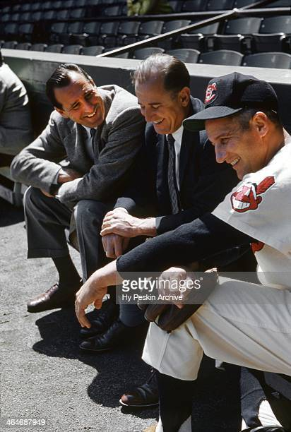 Slugger Al Rosen and General Manager Hank Greenberg of the Cleveland Indians with an unidentified man during spring training on March 7 1955 in...