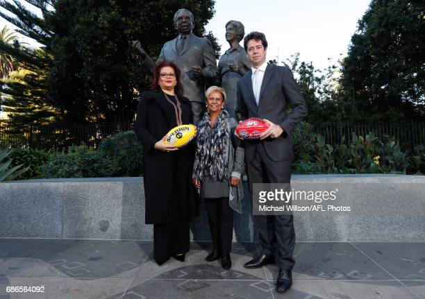 AFL General Manager Inclusion and Social Policy Tanya Hosch Sir Doug Nicholls' daughter Aunty Pam Pedersen and Gillon McLachlan Chief Executive...