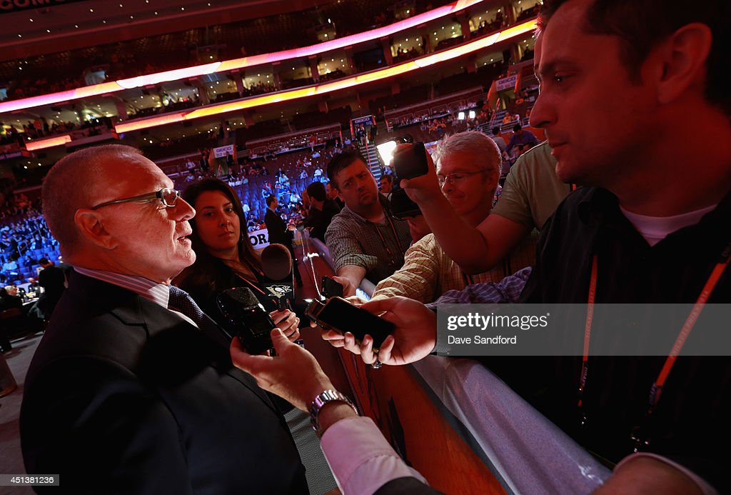 General Manager <a gi-track='captionPersonalityLinkClicked' href=/galleries/search?phrase=Jim+Rutherford&family=editorial&specificpeople=594541 ng-click='$event.stopPropagation()'>Jim Rutherford</a> of the Pittsburgh Penguins is interviewed during the 2014 NHL Entry Draft at Wells Fargo Center on June 28, 2014 in Philadelphia, Pennsylvania.