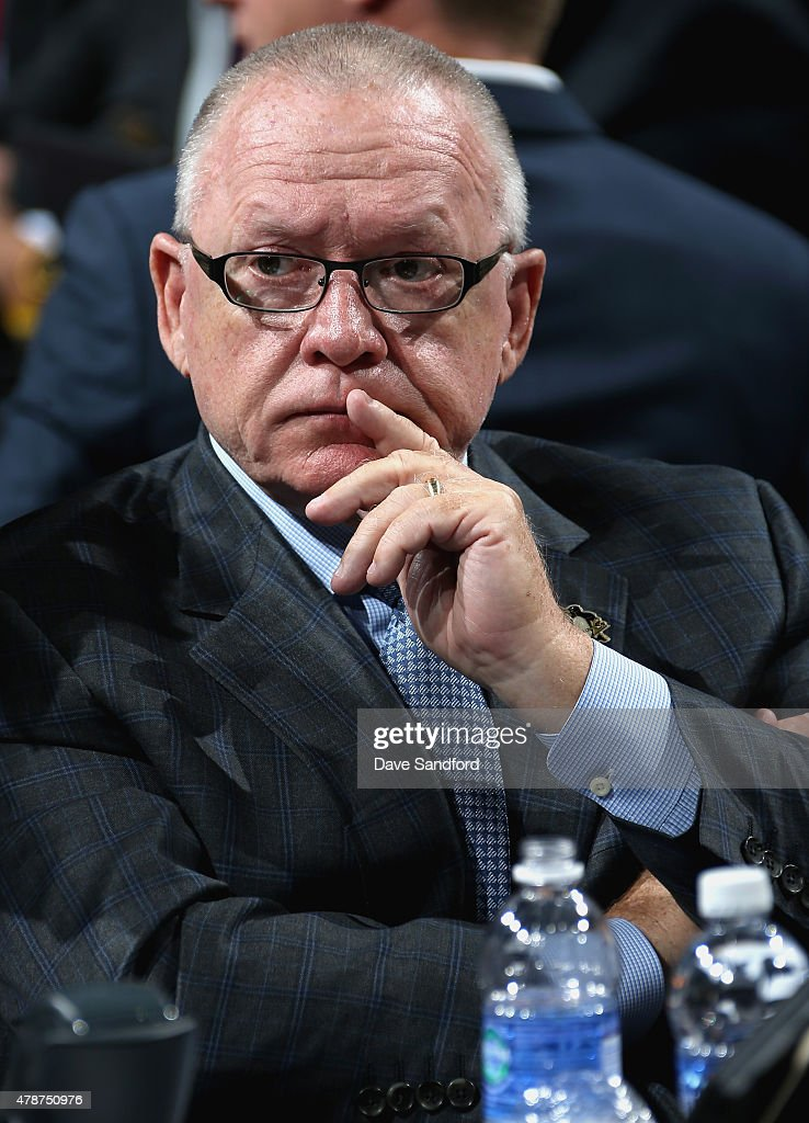 General Manager <a gi-track='captionPersonalityLinkClicked' href=/galleries/search?phrase=Jim+Rutherford&family=editorial&specificpeople=594541 ng-click='$event.stopPropagation()'>Jim Rutherford</a> of the Pittsburgh Penguins looks on from the draft table during the 2015 NHL Draft at BB&T Center on June 27, 2015 in Sunrise, Florida.