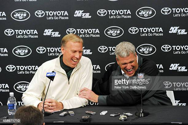 General Manager John Idzik and Head Coach Rex Ryan seasonending press conference Tuesday December 31 2013 at their training facility in Florham Park...