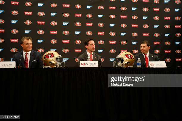 General Manager John Lynch Head Coach Kyle Shanahan and CEO Jed York of the San Francisco 49ers speaks to the media during a press conference at Levi...