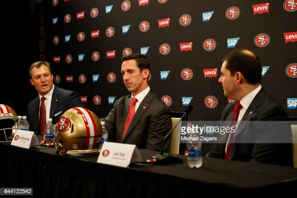 General Manager John Lynch Head Coach Kyle Shanahan and CEO Jed York of the San Francisco 49ers speak to the media during a press conference at Levi...