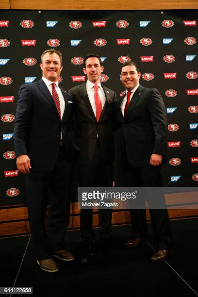 General Manager John Lynch Head Coach Kyle Shanahan and CEO Jed York of the San Francisco 49ers stand together during a press conference at Levi...