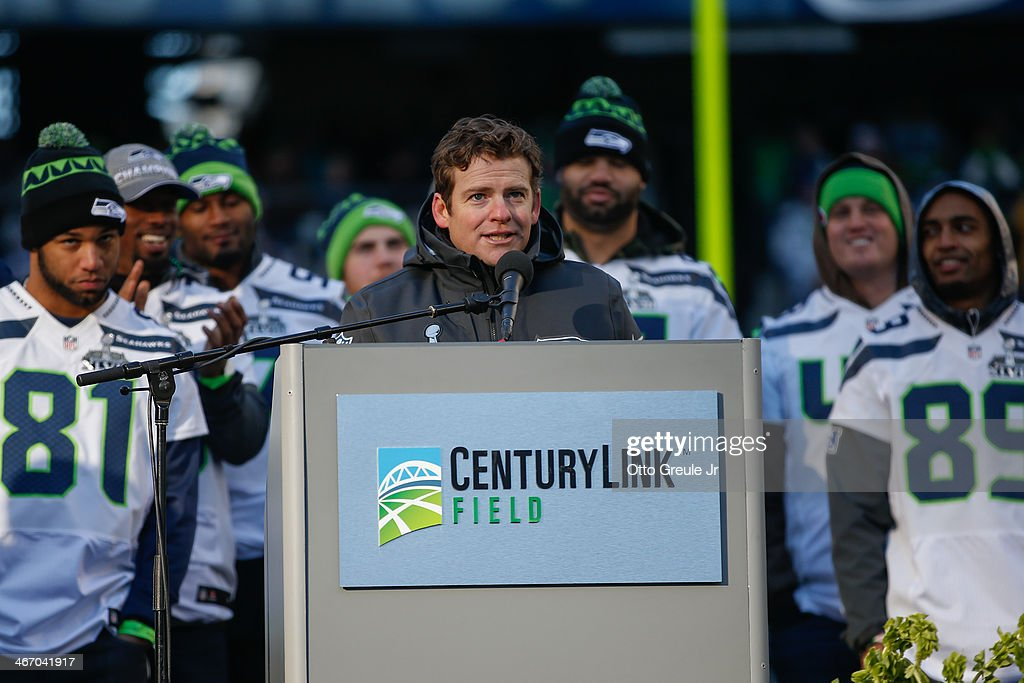 General manager John Schneider of the Seattle Seahawks speaks to the crowd during ceremonies following the Super Bowl XLVIII Victory Parade at CenturyLink Field on February 5, 2014 in Seattle, Washington.