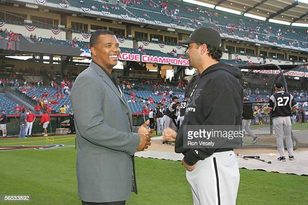 General Manager Ken Williams and Ozzie Guillen of the Chicago White Sox talk prior to Game 3 of the American League Championship Series against the...