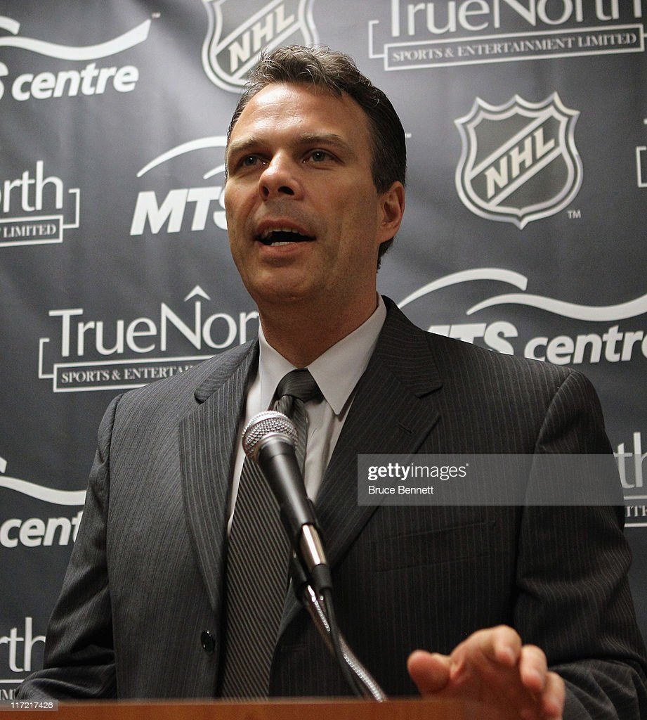 General Manager Kevin Cheveldayoff of the Winnipeg franchise of the National Hockey League introduces Claude Noel as their new head coach at the Westin Hotel on June 23, 2011 in Minneapolis, Minnesota.