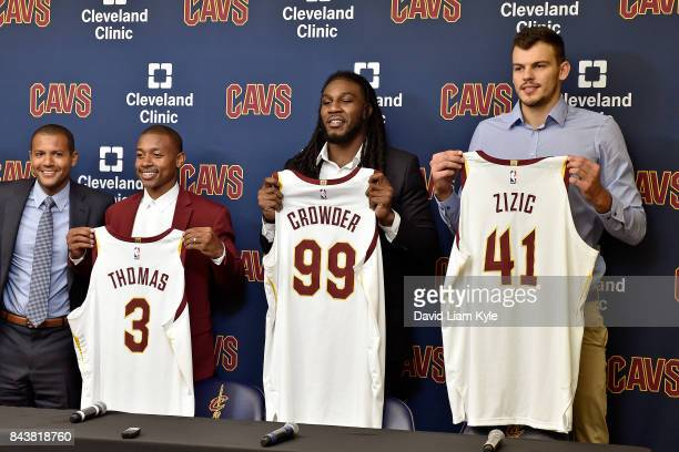 General Manager Koby Altman of the Cleveland Cavaliers presents Isaiah Thomas Jae Crowder and Ante Zizic with their new jersies at The Cleveland...
