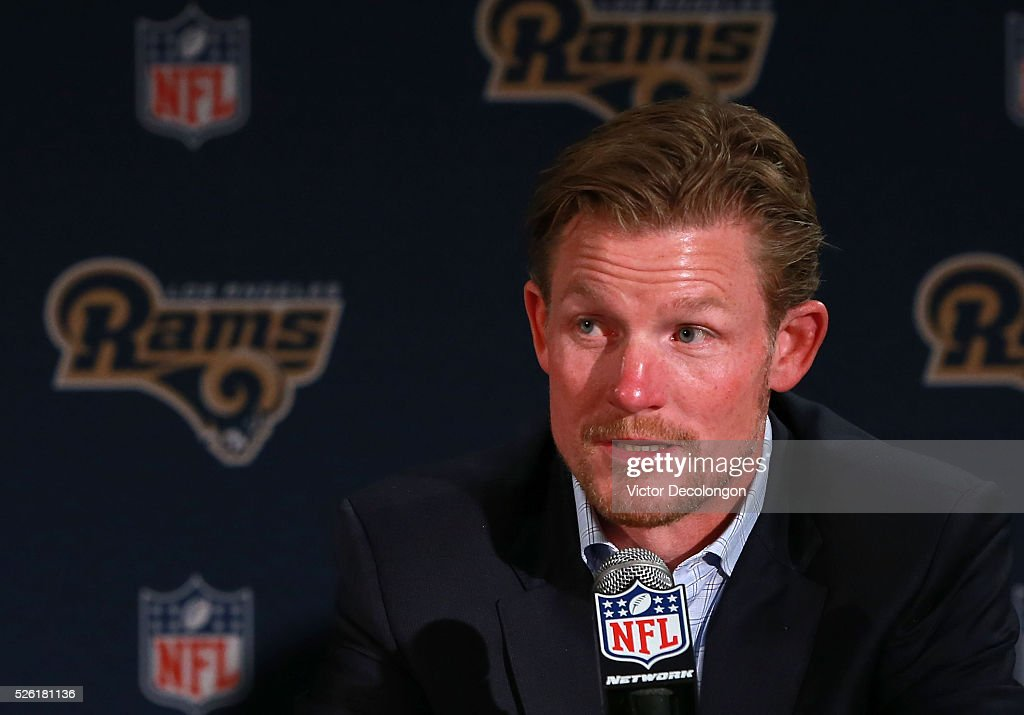 General Manager <a gi-track='captionPersonalityLinkClicked' href=/galleries/search?phrase=Les+Snead&family=editorial&specificpeople=8221764 ng-click='$event.stopPropagation()'>Les Snead</a> of the Los Angeles Rams speaks onstage during the press conference to introduce Jared Goff, the Los Angeles Rams' first pick and first overall pick of the 2016 NFL Draft, on April 29, 2016 in Los Angeles, California.