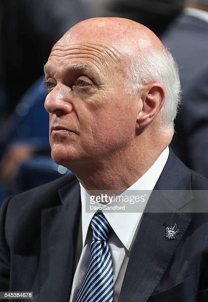 General manager Lou Lamoriello of the Toronto Maple Leafs looks on during round one of the 2016 NHL Draft at First Niagara Center on June 24 2016 in...