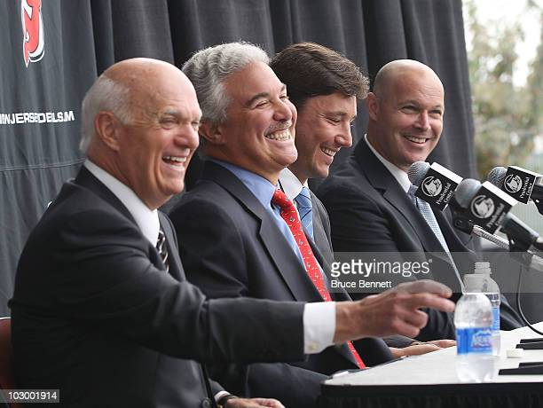 General Manager Lou Lamoriello owner Jeff Vanderbeek Ilya Kovalchuk and head coach John Maclean of the New Jersey Devils speak with the media during...