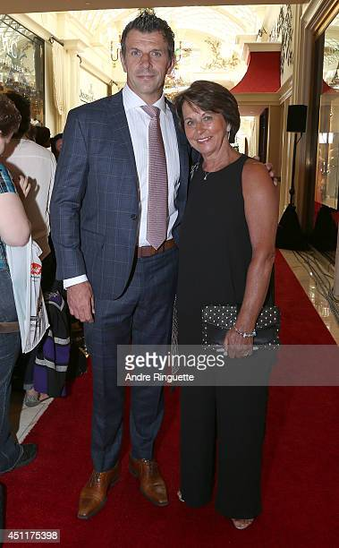 General Manager Marc Bergevin of the Montreal Canadiens and his sister Carol Bergevin arrive at the 2014 NHL Awards at Encore Las Vegas on June 24...