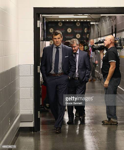 General Manager Marc Bergevin of the Montreal Canadiens arrives for the game between the Boston Bruins and the Canadiens in Game Five of the Second...