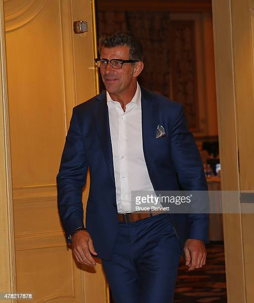 General manager Marc Bergevin of the Montreal Canadiens leaves the NHL general managers meetings at the Bellagio Las Vegas on June 23 2015 in Las...