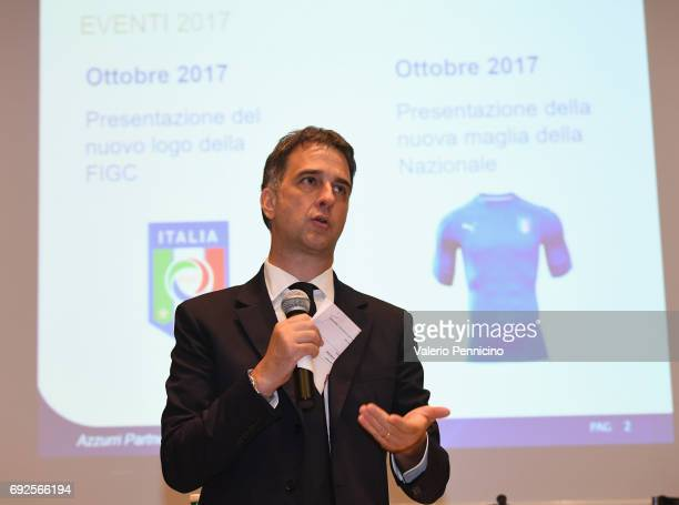 FIGC general manager Michele Uva delivers a speech during FIGC Partners Day at Coverciano on June 5 2017 in Florence Italy