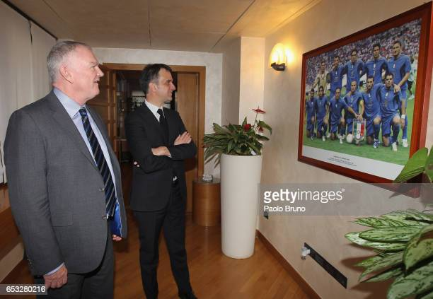 General Manager Michele Uva meets FA Chairman Greg Clarke on March 14 2017 in Rome Italy