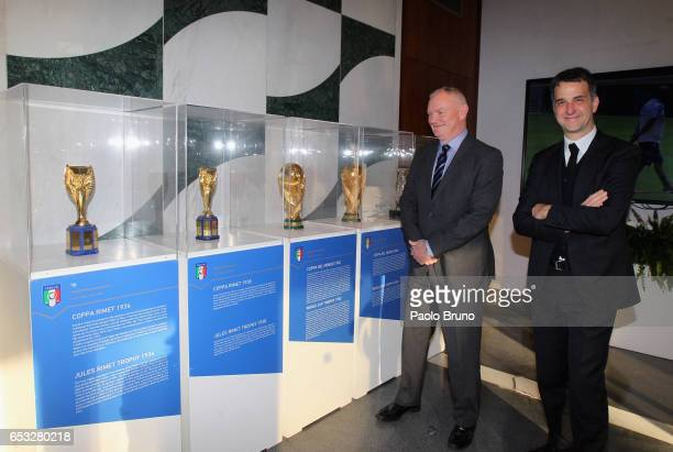 FIGC General Manager Michele Uva meets FA Chairman Greg Clarke on March 14 2017 in Rome Italy