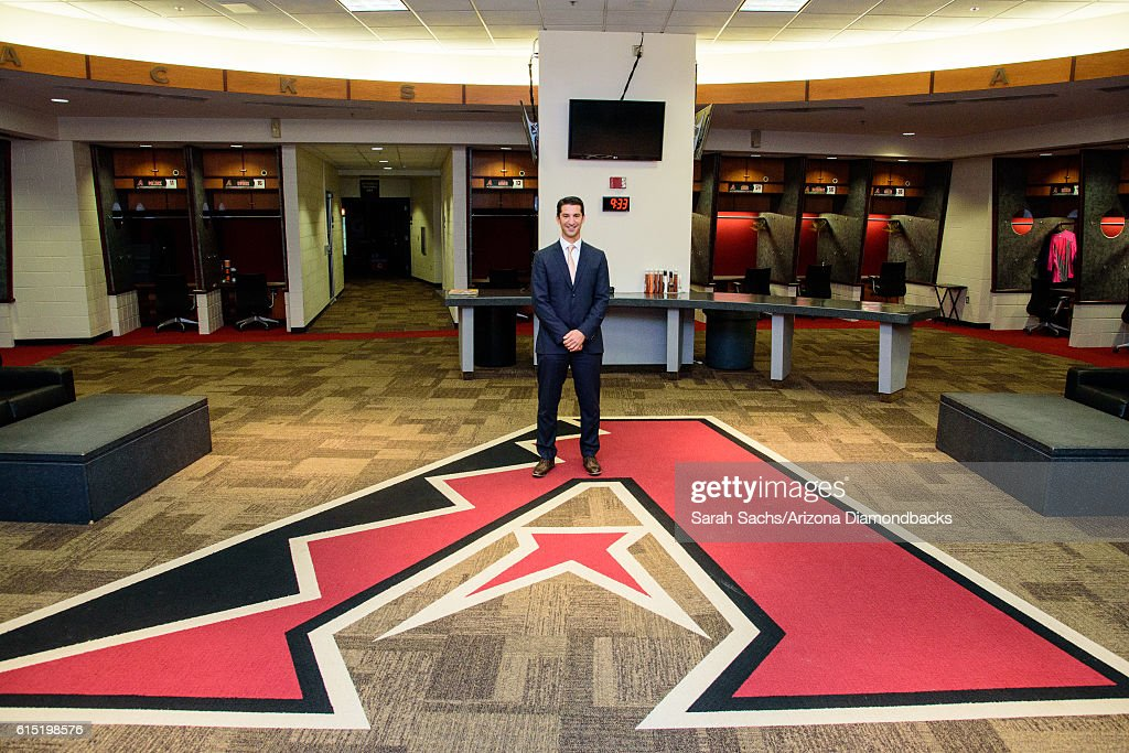 General Manager Mike Hazen poses for a photo in the Arizona Diamondbacks home clubhouse on October 17, 2016 in Phoenix, Arizona.