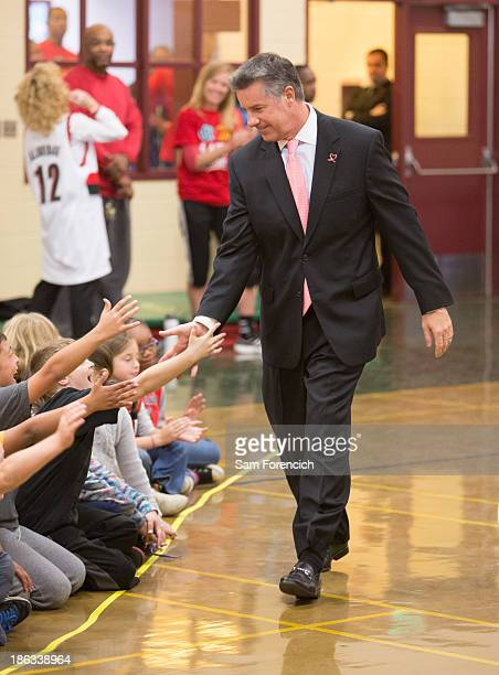 General Manager Neil Olshey of the Portland Trail Blazers greets kids during an NBA Cares Week 'Live Learn Play' assembly October 28 2013 at the...