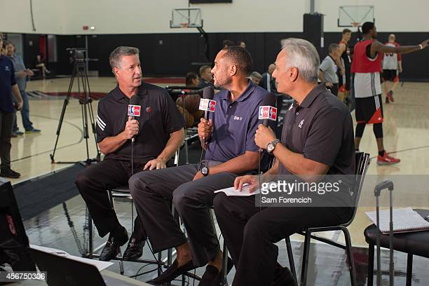 General Manager Neil Olshey of the Portland Trail Blazers speaks with NBA TV personalities Steve Smith and Vince Cellini on October 3 2014 at the...