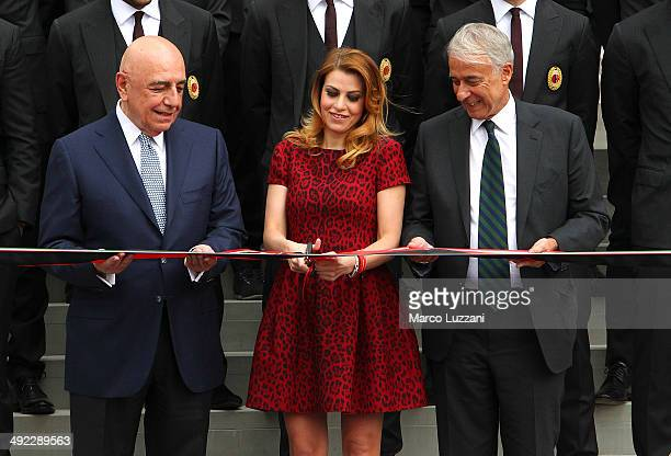 General Manager of AC Milan Adriano Galliani General Manager of AC Milan Barbara Berlusconi and Mayor of Milan Giuliano Pisapia attend the ribbon...