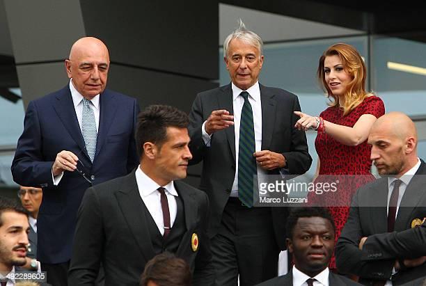 General Manager of AC Milan Adriano Galliani Mayor of Milan Giuliano Pisapia and General Manager of AC Milan Barbara Berlusconi attends the...